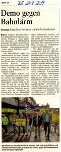 Demo gegen Bahnlärm